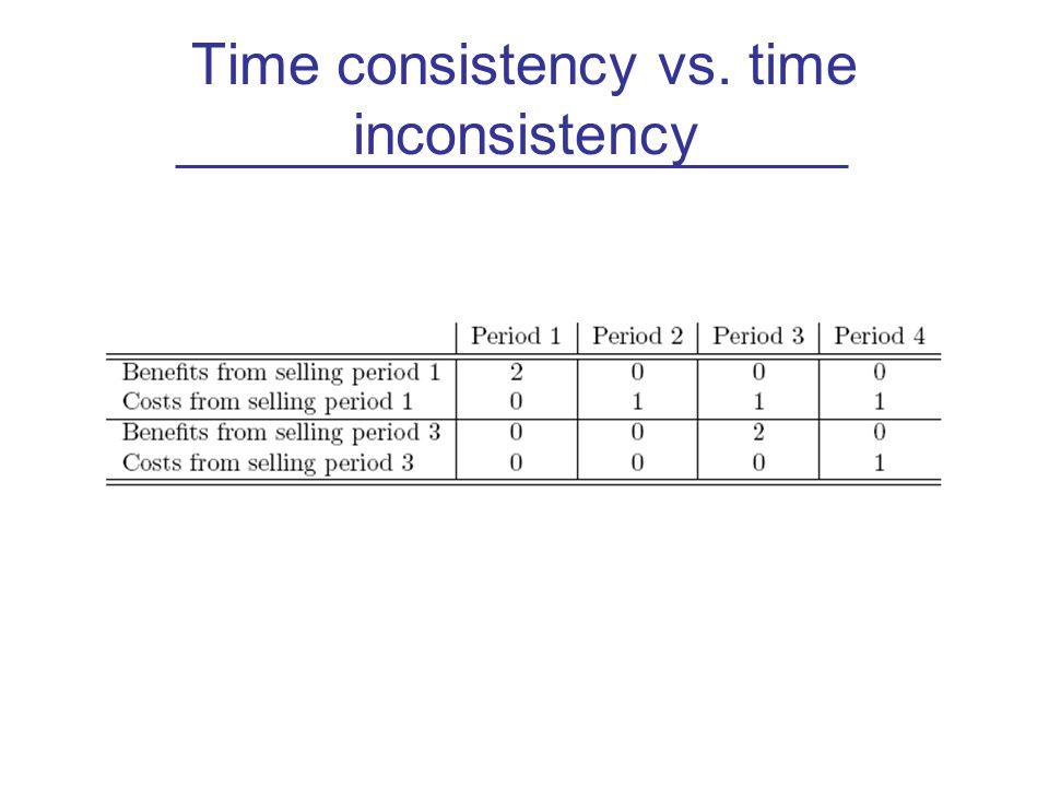 Time consistency vs. time inconsistency