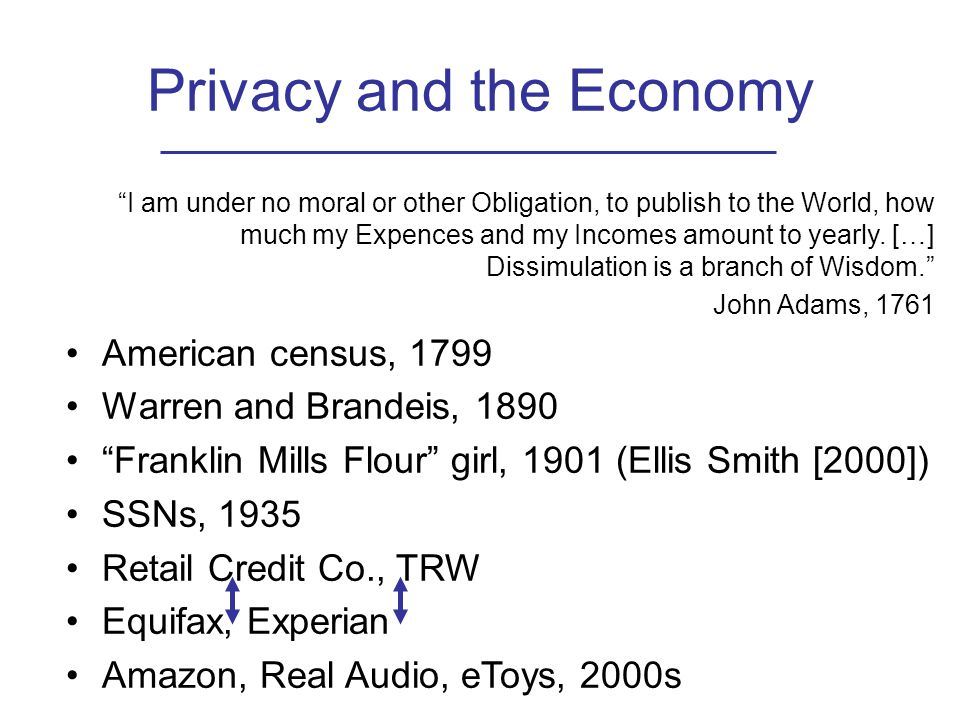 Privacy and the Economy I am under no moral or other Obligation, to publish to the World, how much my Expences and my Incomes amount to yearly.