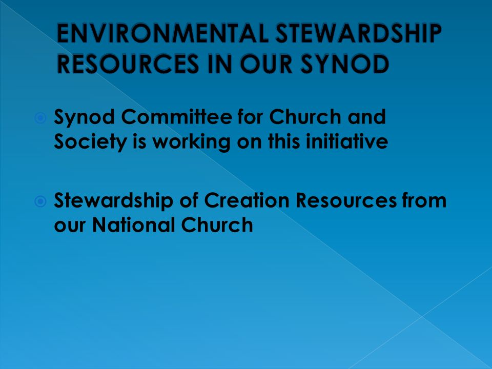  Synod Committee for Church and Society is working on this initiative  Stewardship of Creation Resources from our National Church