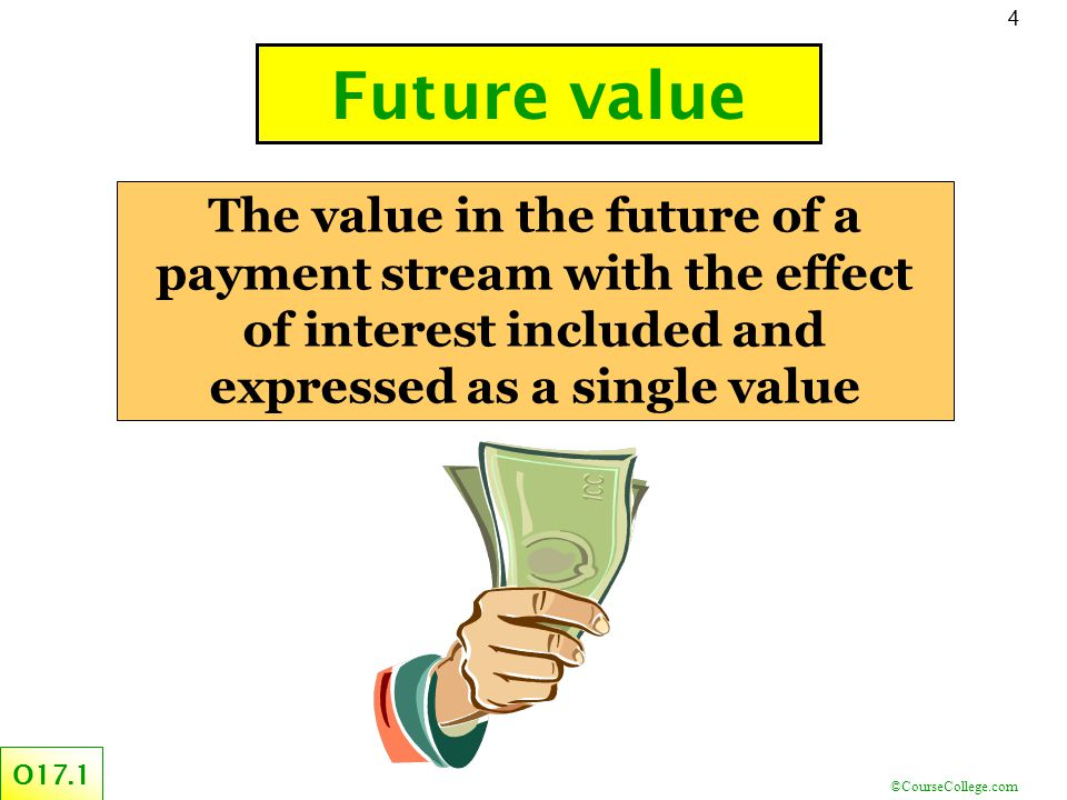 ©CourseCollege.com 4 The value in the future of a payment stream with the effect of interest included and expressed as a single value Future value O17.1