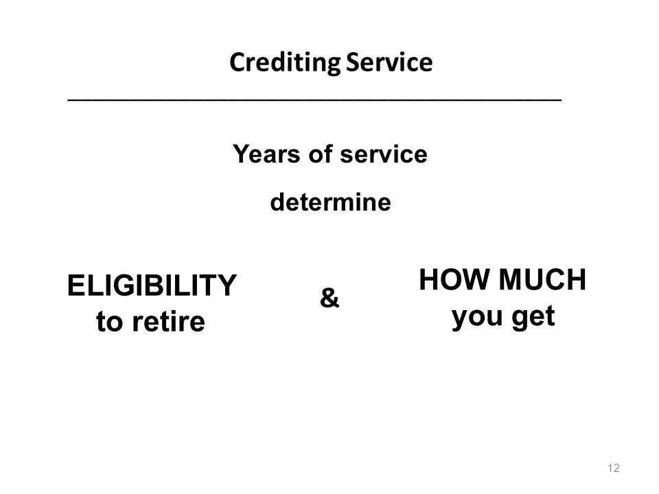 Crediting Service ________________________________________ & ELIGIBILITY to retire HOW MUCH you get Years of service determine 12