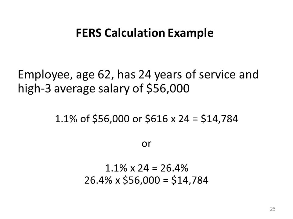 FERS Calculation Example Employee, age 62, has 24 years of service and high-3 average salary of $56,000 1.1% of $56,000 or $616 x 24 = $14,784 or 1.1% x 24 = 26.4% 26.4% x $56,000 = $14,784 25