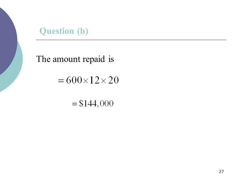 27 Question (b) The amount repaid is