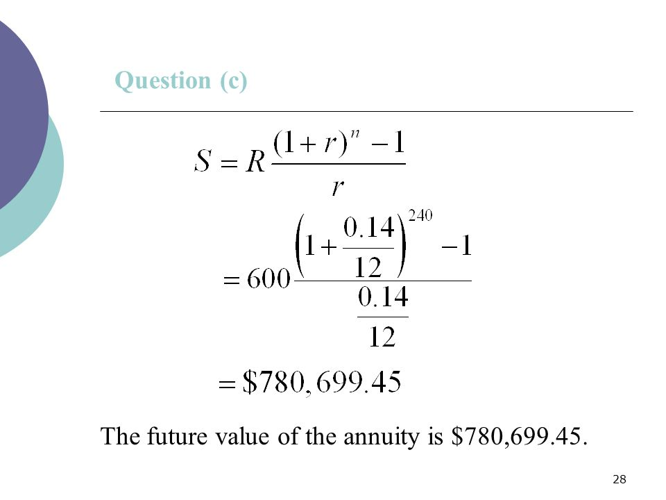 28 Question (c) The future value of the annuity is $780,699.45.