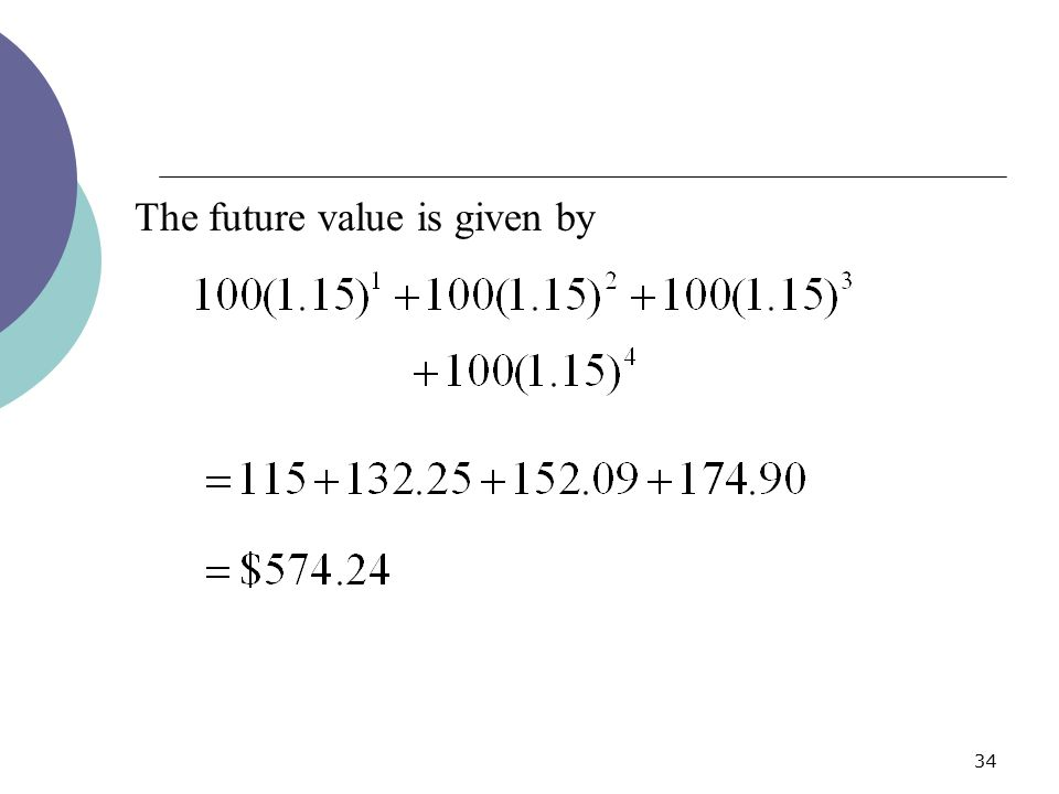 34 The future value is given by