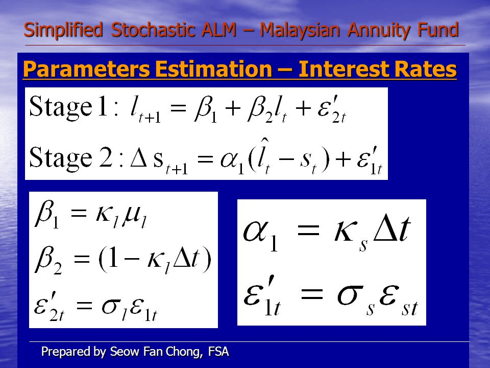 Simplified Stochastic ALM – Malaysian Annuity Fund Parameters Estimation – Interest Rates Prepared by Seow Fan Chong, FSA