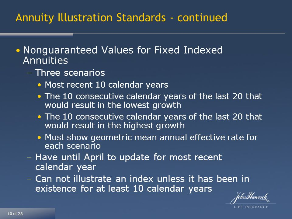 10 of 28 Annuity Illustration Standards - continued Nonguaranteed Values for Fixed Indexed Annuities –Three scenarios Most recent 10 calendar years The 10 consecutive calendar years of the last 20 that would result in the lowest growth The 10 consecutive calendar years of the last 20 that would result in the highest growth Must show geometric mean annual effective rate for each scenario –Have until April to update for most recent calendar year –Can not illustrate an index unless it has been in existence for at least 10 calendar years