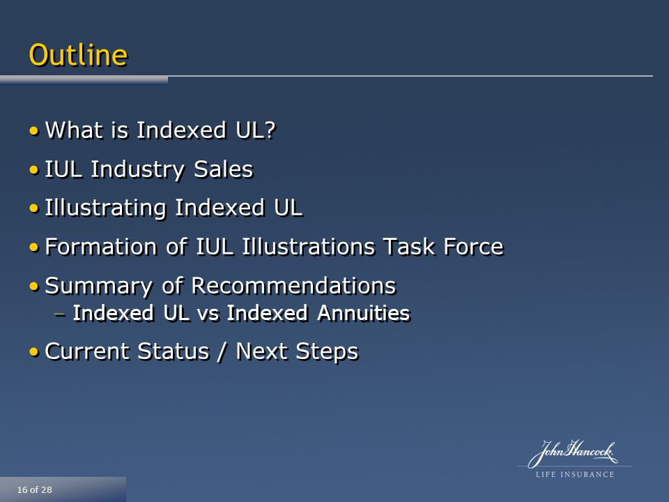 16 of 28 Outline What is Indexed UL.