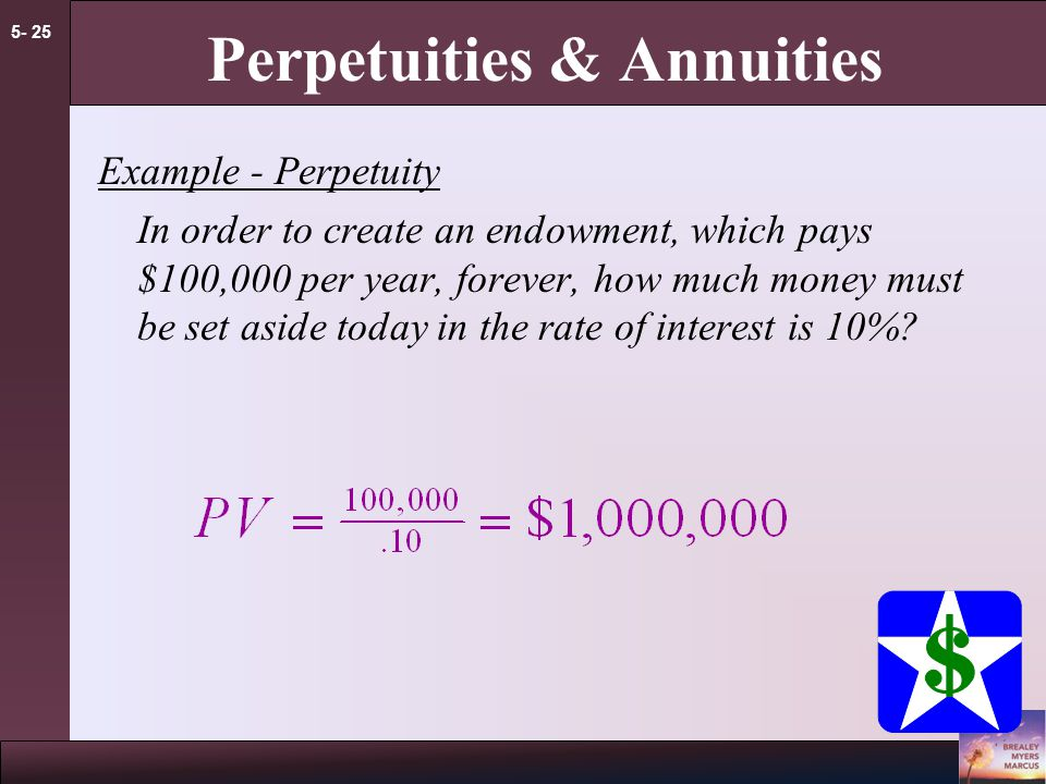 5- 24 Perpetuities & Annuities PV of Perpetuity Formula C = cash payment r = interest rate