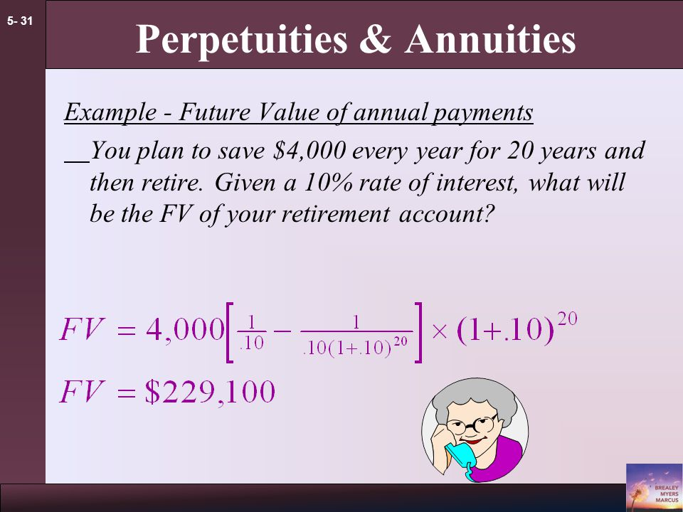 5- 30 Perpetuities & Annuities Applications  Value of payments  Implied interest rate for an annuity  Calculation of periodic payments  Mortgage payment  Annual income from an investment payout  Future Value of annual payments