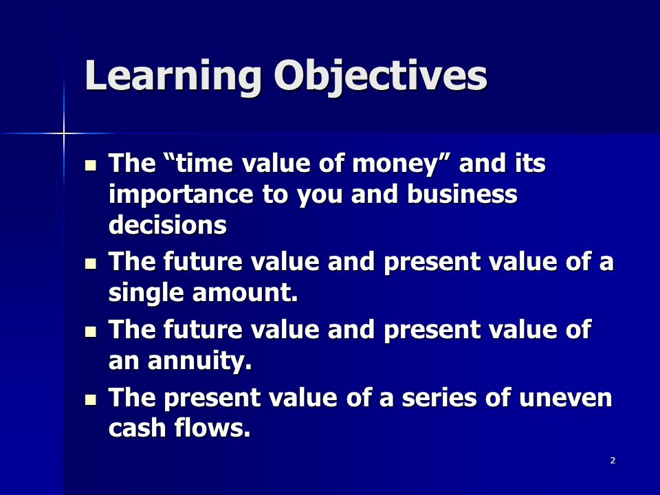 "2 Learning Objectives The ""time value of money"" and its importance to you and business decisions The ""time value of money"" and its importance to you a"