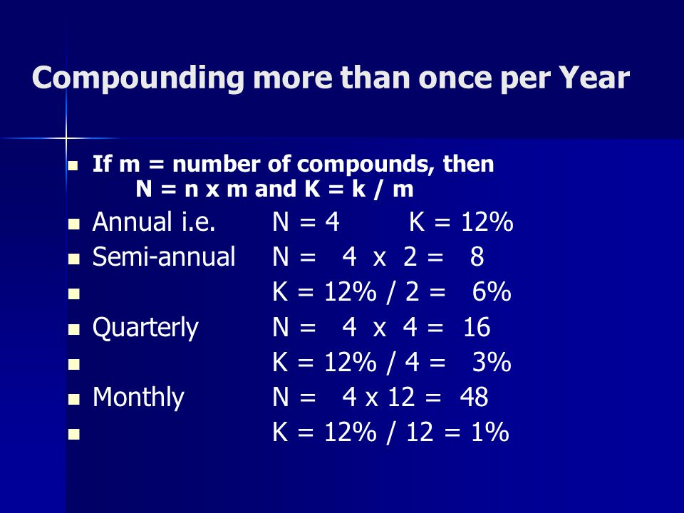 Compounding more than once per Year If m = number of compounds, then N = n x m and K = k / m Annual i.e.N = 4K = 12% Semi-annualN = 4 x 2 = 8 K = 12%