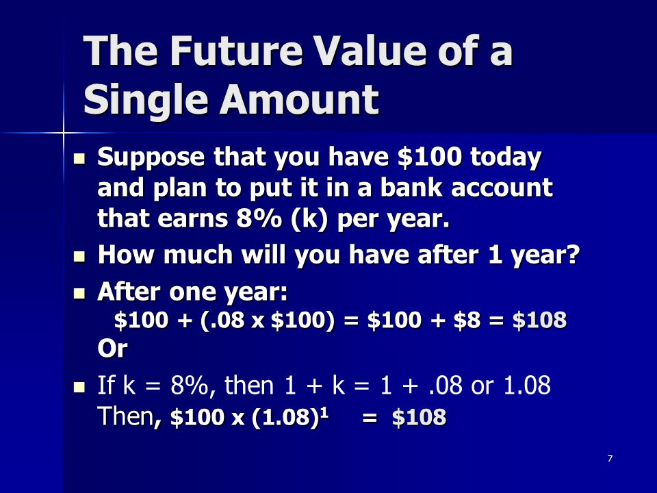 28 Present Value of an Annuity Due $100 / (1.08) 2 $92.60 $85.73 $100/(1.08) 1 $278.33 0 1 2 3 $100  How much would the following cash flows be worth to you today if you could earn 8% on your deposits.
