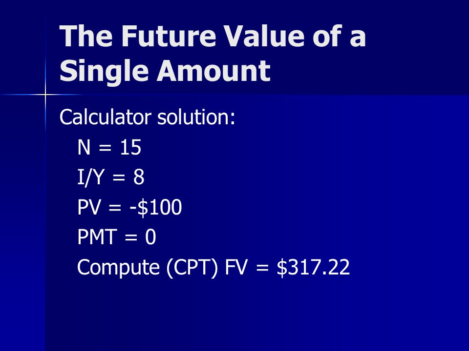 10 Present Value of a Single Amount Value today of an amount to be received or paid in the future.
