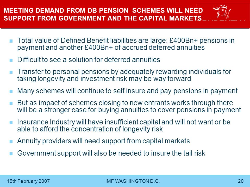 15th February 2007 IMF WASHINGTON D.C.20 MEETING DEMAND FROM DB PENSION SCHEMES WILL NEED SUPPORT FROM GOVERNMENT AND THE CAPITAL MARKETS Total value of Defined Benefit liabilities are large: £400Bn+ pensions in payment and another £400Bn+ of accrued deferred annuities Difficult to see a solution for deferred annuities Transfer to personal pensions by adequately rewarding individuals for taking longevity and investment risk may be way forward Many schemes will continue to self insure and pay pensions in payment But as impact of schemes closing to new entrants works through there will be a stronger case for buying annuities to cover pensions in payment Insurance Industry will have insufficient capital and will not want or be able to afford the concentration of longevity risk Annuity providers will need support from capital markets Government support will also be needed to insure the tail risk