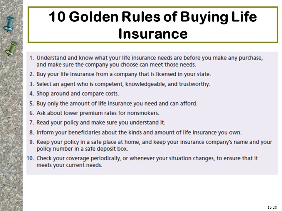 10-28 10 Golden Rules of Buying Life Insurance