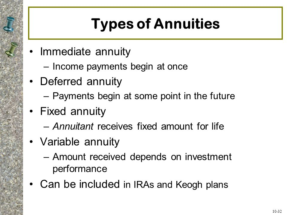 10-32 Types of Annuities Immediate annuity –Income payments begin at once Deferred annuity –Payments begin at some point in the future Fixed annuity –
