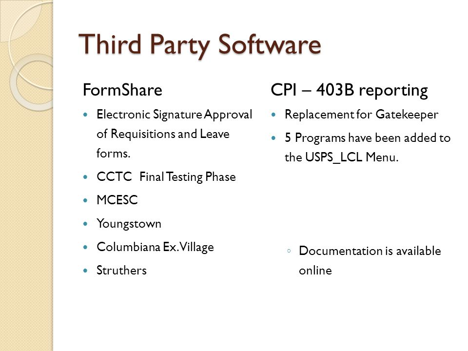 Third Party Software FormShare Electronic Signature Approval of Requisitions and Leave forms.