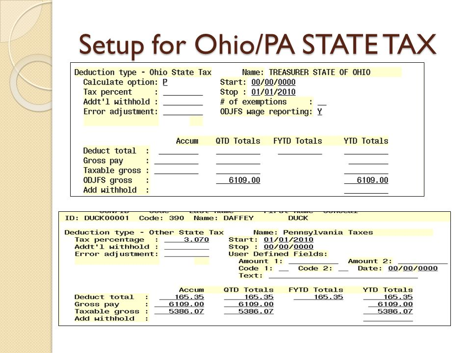 Setup for Ohio/PA STATE TAX