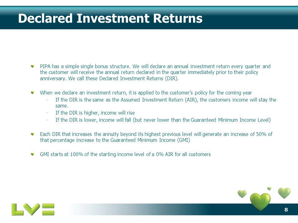 8 Declared Investment Returns PIPA has a simple single bonus structure.