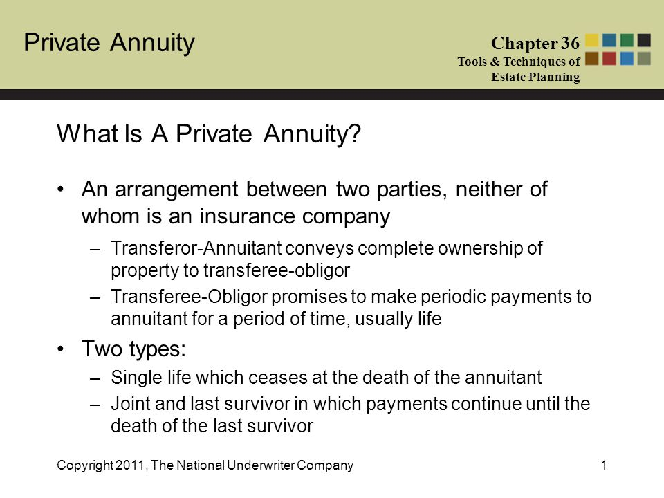 Private Annuity Chapter 36 Tools & Techniques of Estate Planning Copyright 2011, The National Underwriter Company12 No gift tax if annual payments are actuarially determined to be equal to the FMV of the property sold –If the value is less, then the difference will constitute a gift by the annuitant –In a joint and survivor annuity, the value of the survivor annuity constitutes a gift of a future interest and does not qualify for the gift tax annual exclusion If survivor annuitant is a spouse, the gift tax marital deduction may be applied to the gift Tax Implications
