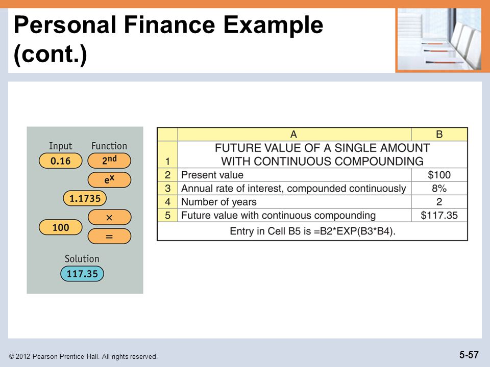 © 2012 Pearson Prentice Hall. All rights reserved. 5-57 Personal Finance Example (cont.)