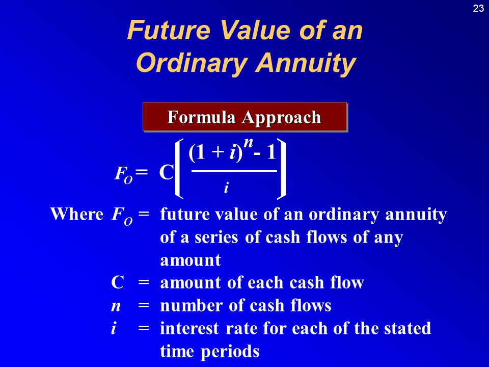 23 Formula Approach (1 + i) - 1 n F o = C i WhereF = future value of an ordinary annuity of a series of cash flows of any amount C =amount of each cash flow n =number of cash flows i=interest rate for each of the stated time periods o Future Value of an Ordinary Annuity
