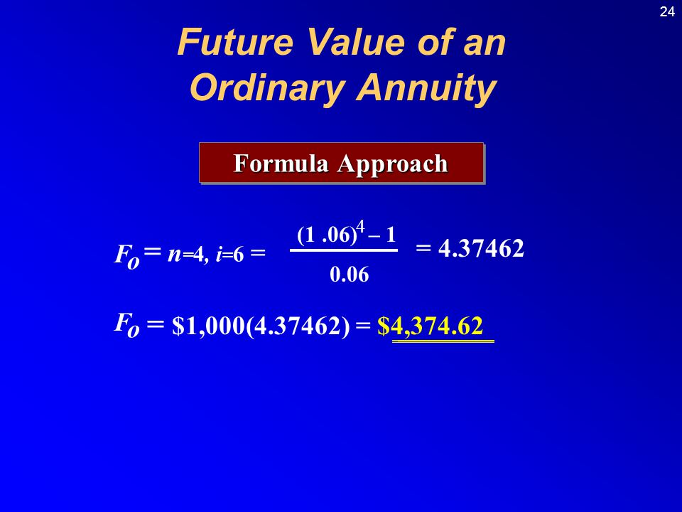 24 Formula Approach F o = n = 4, i = 6 = (1.06) – 1 4 = 4.37462 0.06 F o = $1,000(4.37462) = $4,374.62 Future Value of an Ordinary Annuity