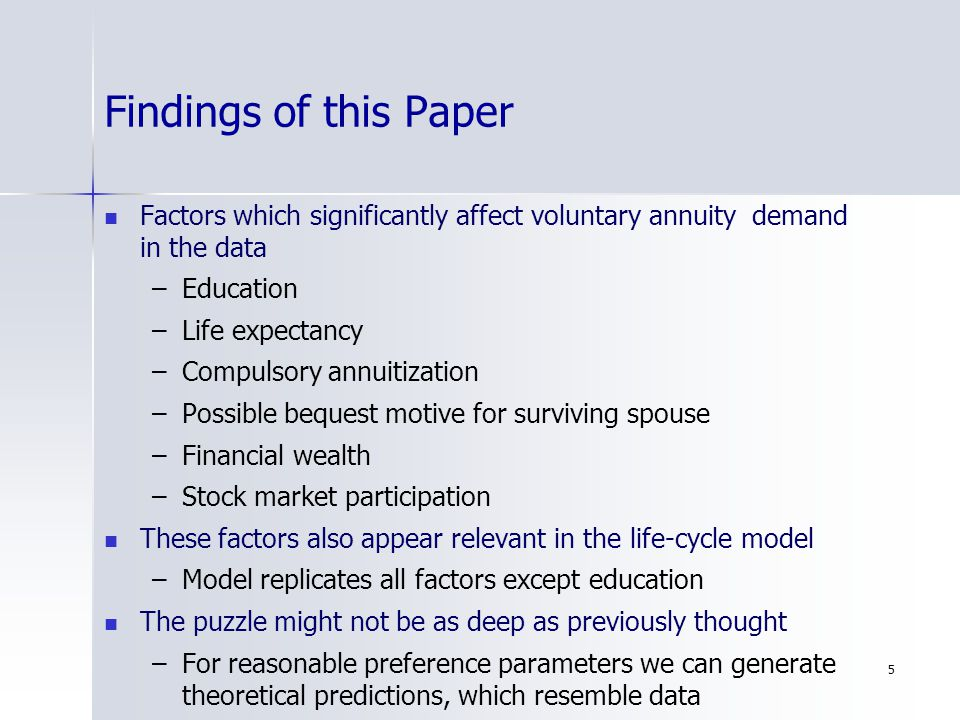 5 Findings of this Paper Factors which significantly affect voluntary annuity demand in the data – –Education – –Life expectancy – –Compulsory annuitization – –Possible bequest motive for surviving spouse – –Financial wealth – –Stock market participation These factors also appear relevant in the life-cycle model – –Model replicates all factors except education The puzzle might not be as deep as previously thought – –For reasonable preference parameters we can generate theoretical predictions, which resemble data
