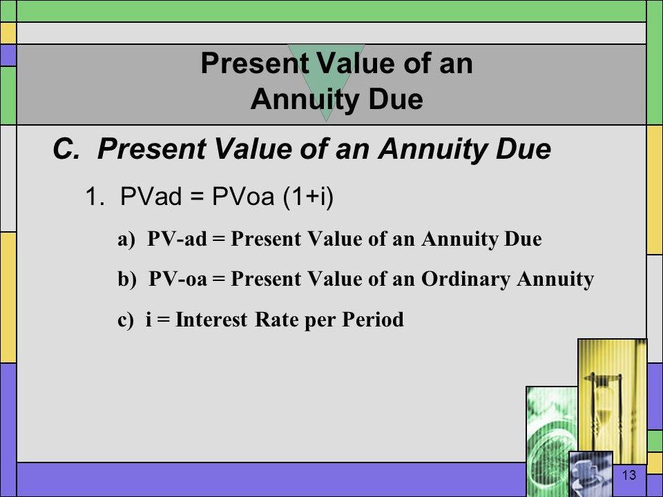 13 Present Value of an Annuity Due C. Present Value of an Annuity Due 1.