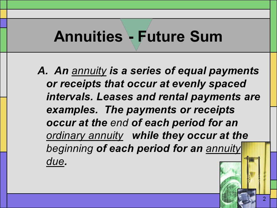 3 FV Time Lines  Ordinary annuity Year Payment - $100 100 100 0 1 2 3