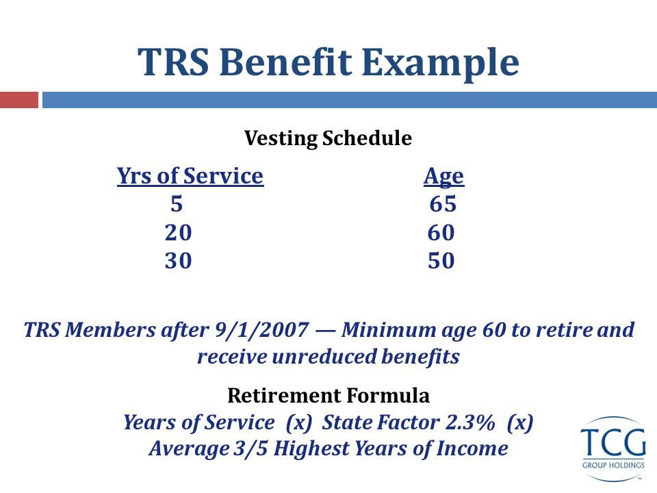 TRS Benefit Example Vesting Schedule Yrs of Service Age 5 65 20 60 30 50 TRS Members after 9/1/2007 — Minimum age 60 to retire and receive unreduced benefits Retirement Formula Years of Service (x) State Factor 2.3% (x) Average 3/5 Highest Years of Income