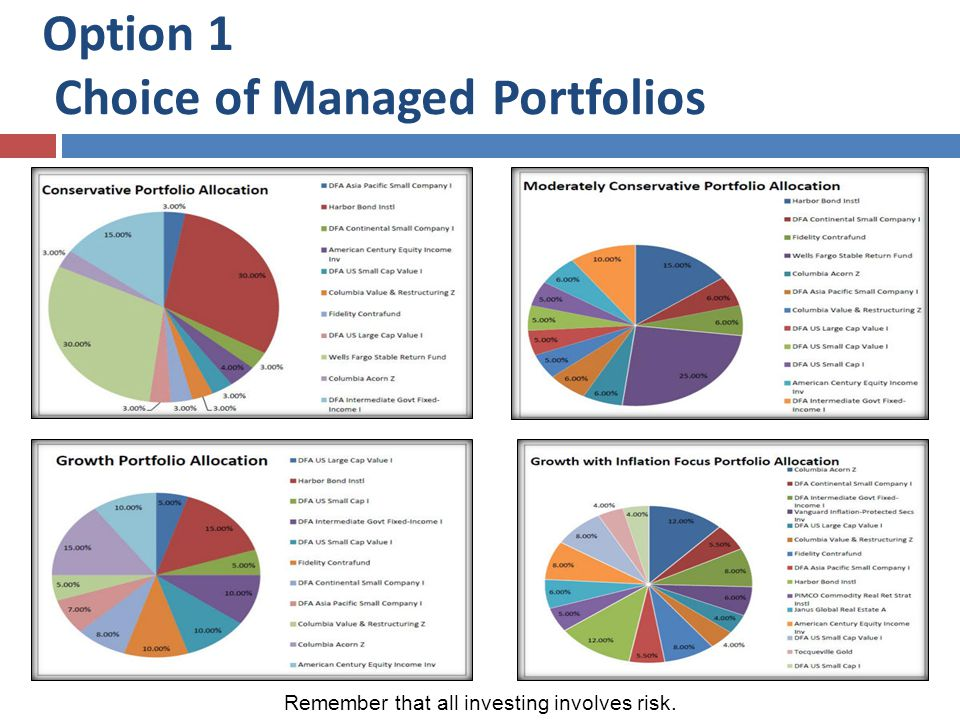 Option 1 Choice of Managed Portfolios Remember that all investing involves risk.