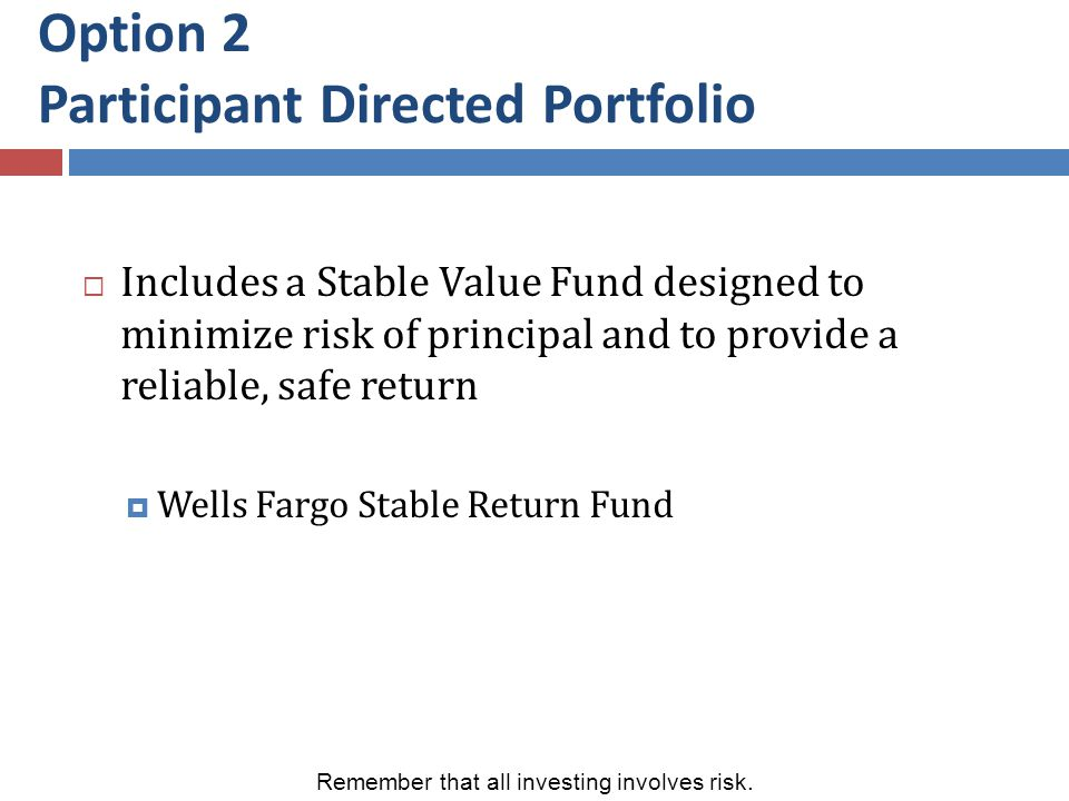 Option 2 Participant Directed Portfolio  Includes a Stable Value Fund designed to minimize risk of principal and to provide a reliable, safe return  Wells Fargo Stable Return Fund Remember that all investing involves risk.