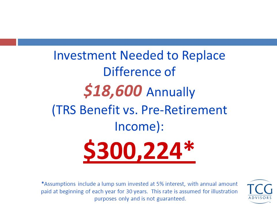 Remember your TRS Annuity is never reduced by Social Security!