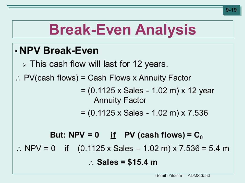 Semih Yildirim ADMS 3530 9-19 Break-Even Analysis NPV Break-Even  This cash flow will last for 12 years. But: NPV = 0 if PV (cash flows) = C 0  NPV