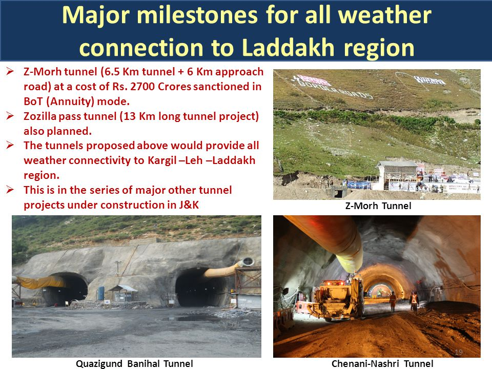 19  Z-Morh tunnel (6.5 Km tunnel + 6 Km approach road) at a cost of Rs.