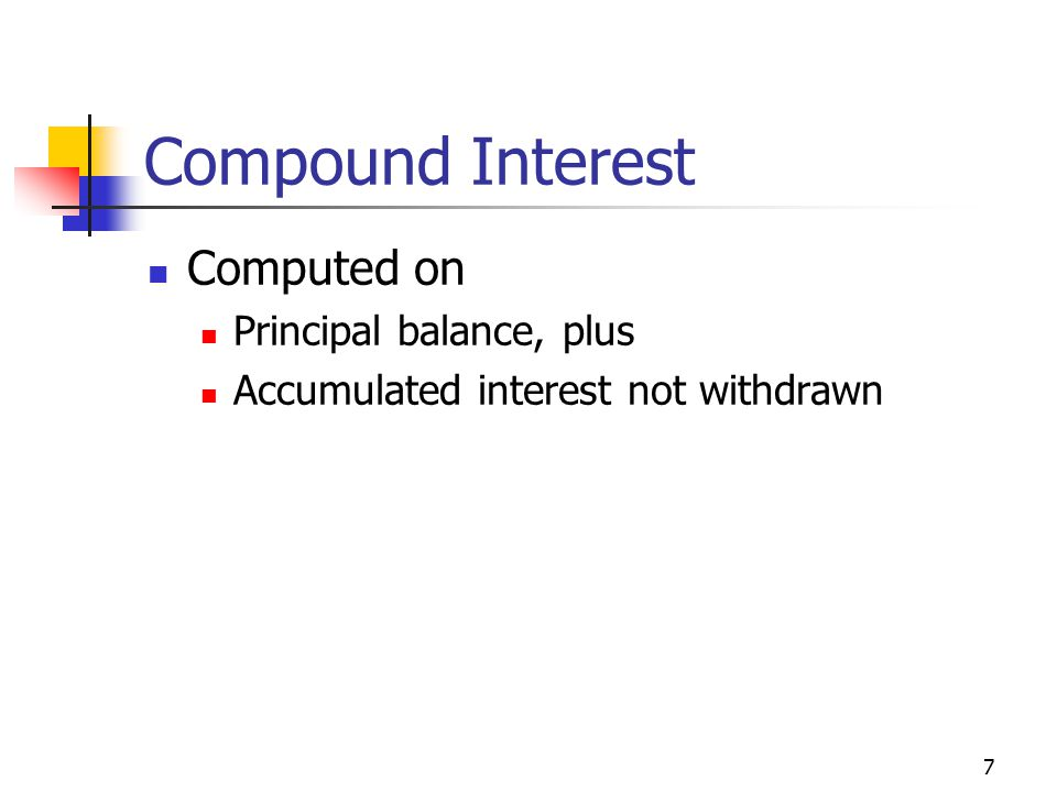 7 Compound Interest Computed on Principal balance, plus Accumulated interest not withdrawn