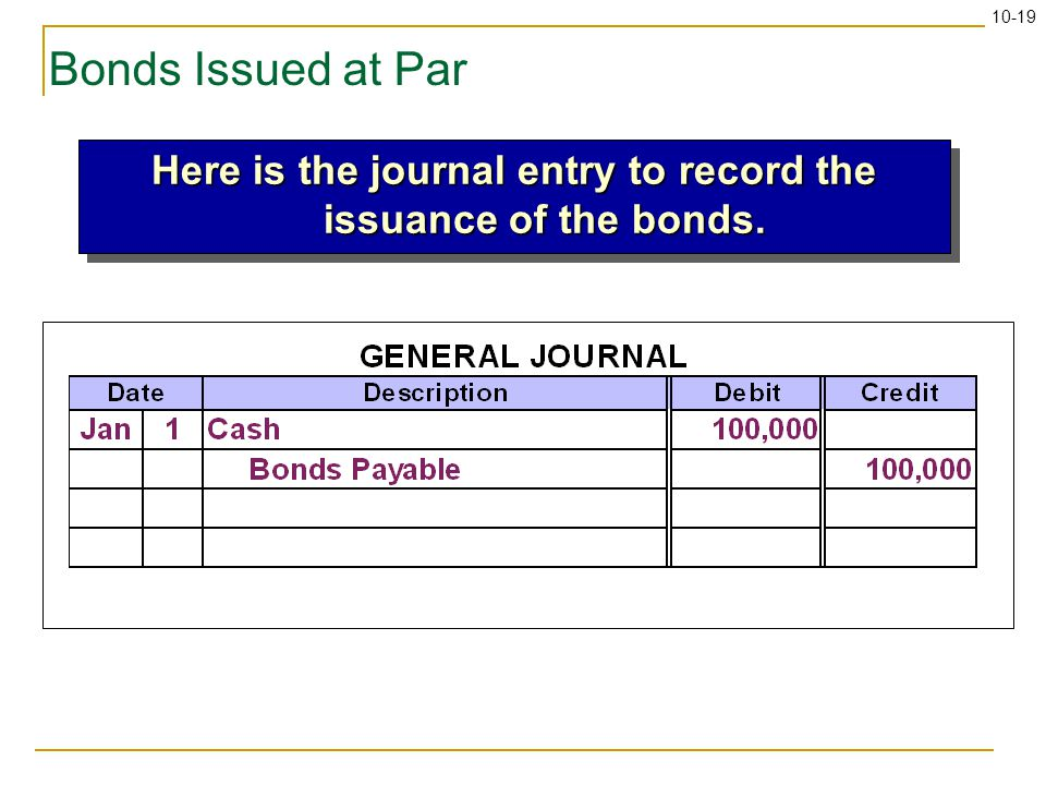10-19 Bonds Issued at Par Here is the journal entry to record the issuance of the bonds.