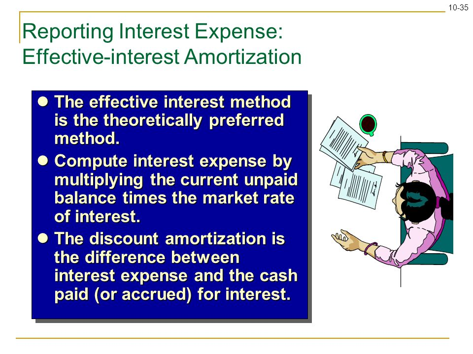 10-35 Reporting Interest Expense: Effective-interest Amortization The effective interest method is the theoretically preferred method. The effective i
