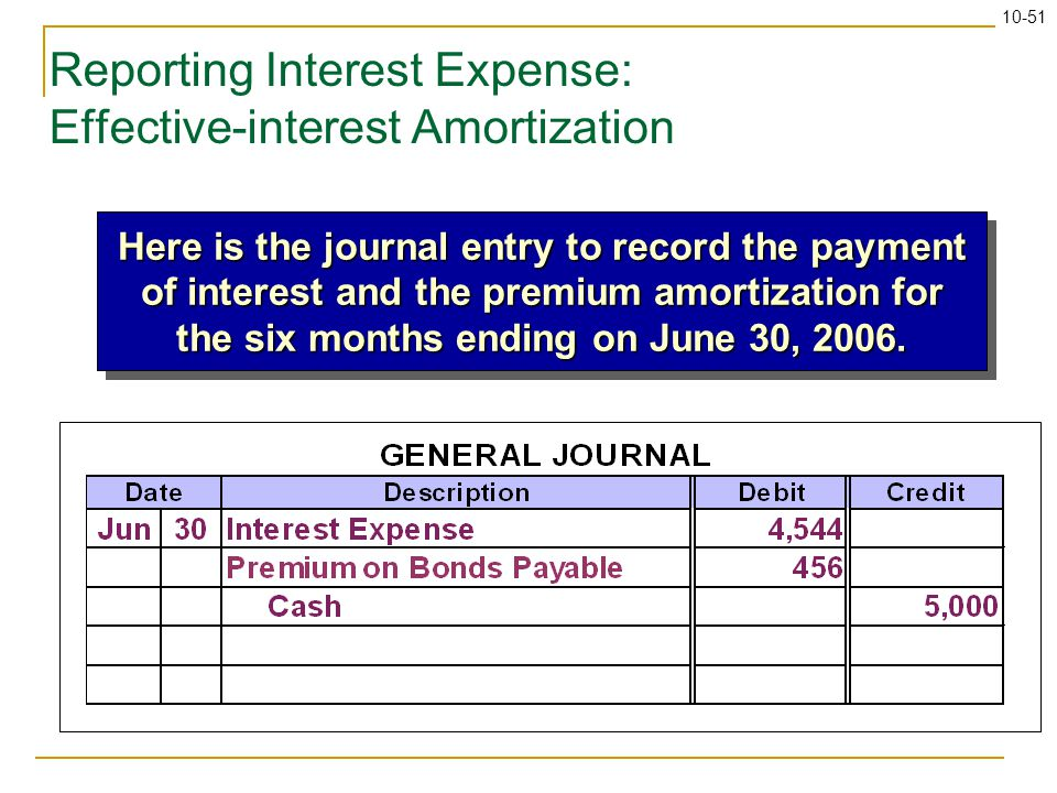 10-51 Reporting Interest Expense: Effective-interest Amortization Here is the journal entry to record the payment of interest and the premium amortization for the six months ending on June 30, 2006.