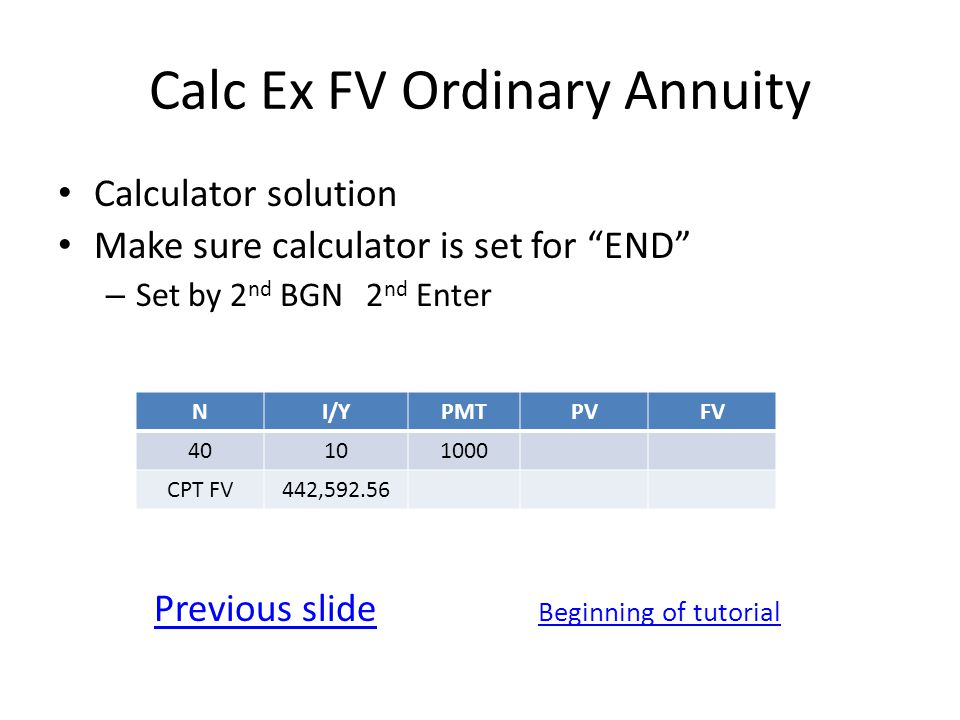 Calc Ex FV Ordinary Annuity Calculator solution Make sure calculator is set for END – Set by 2 nd BGN 2 nd Enter Previous slide Beginning of tutorial NI/YPMTPVFV 40101000 CPT FV442,592.56