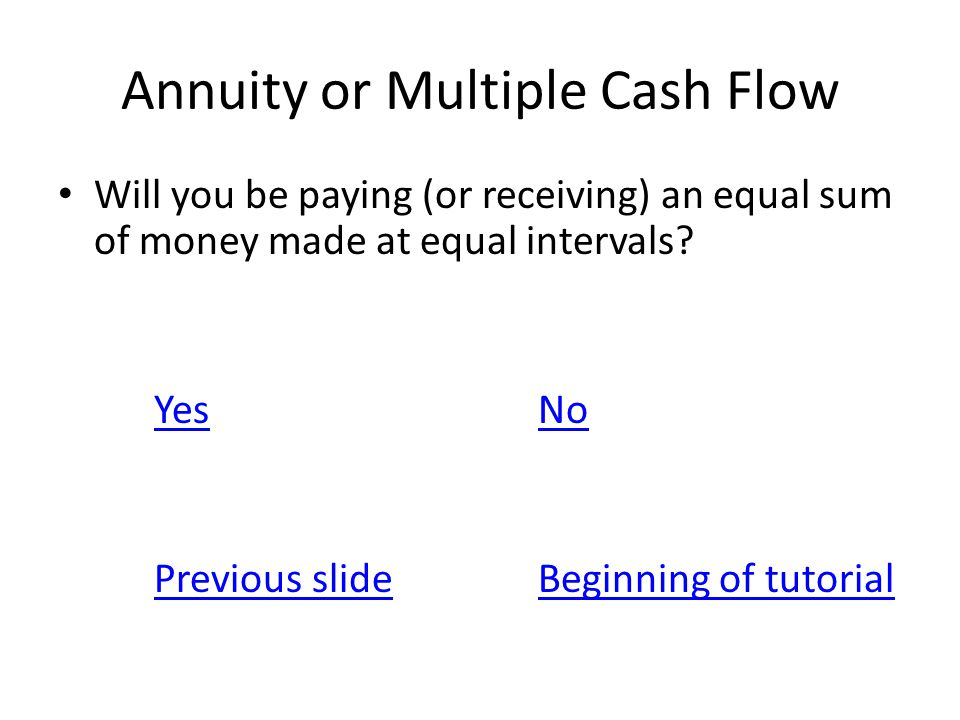 Annuity or Multiple Cash Flow Will you be paying (or receiving) an equal sum of money made at equal intervals? YesNo Previous slideBeginning of tutori