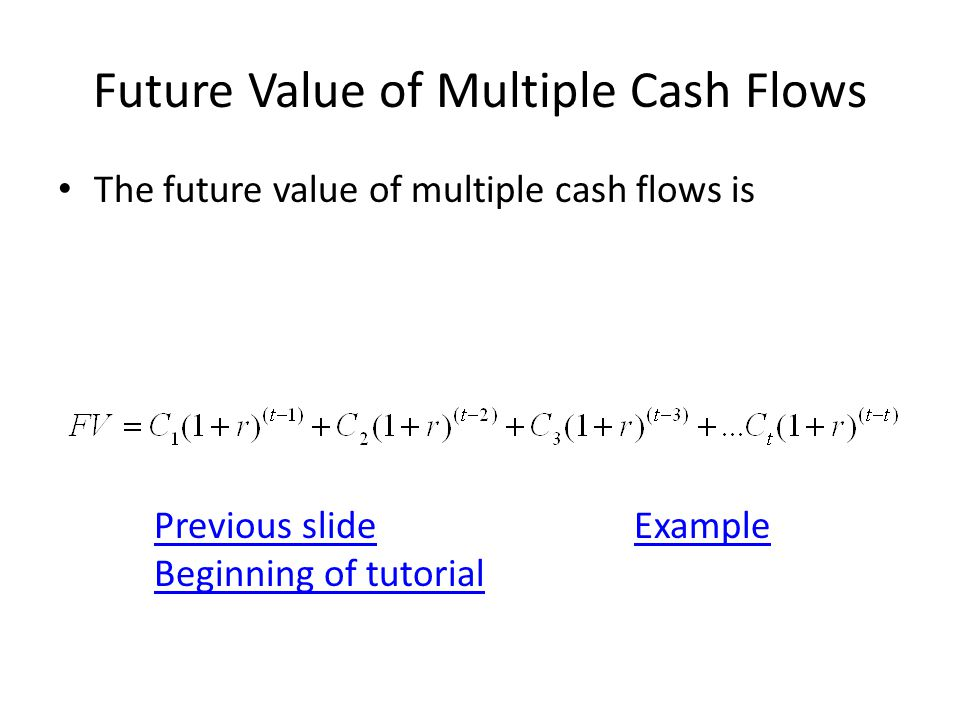 Future Value of Multiple Cash Flows The future value of multiple cash flows is Previous slideExample Beginning of tutorial