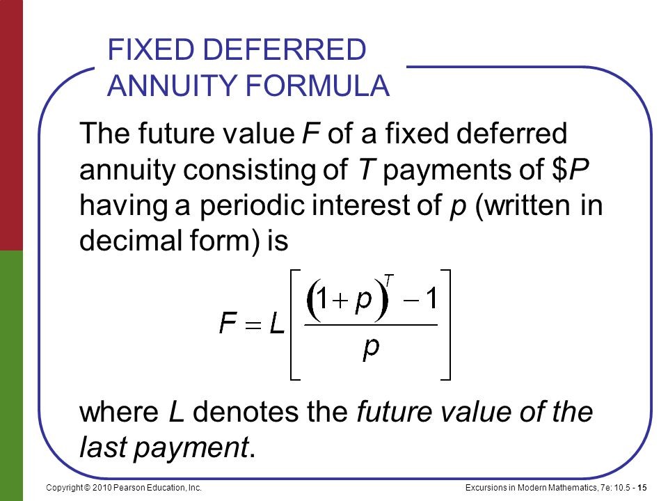 Excursions in Modern Mathematics, 7e: 10.5 - 15Copyright © 2010 Pearson Education, Inc. The future value F of a fixed deferred annuity consisting of T