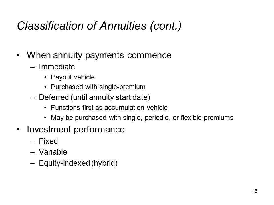 15 Classification of Annuities (cont.) When annuity payments commence –Immediate Payout vehicle Purchased with single-premium –Deferred (until annuity start date) Functions first as accumulation vehicle May be purchased with single, periodic, or flexible premiums Investment performance –Fixed –Variable –Equity-indexed (hybrid)