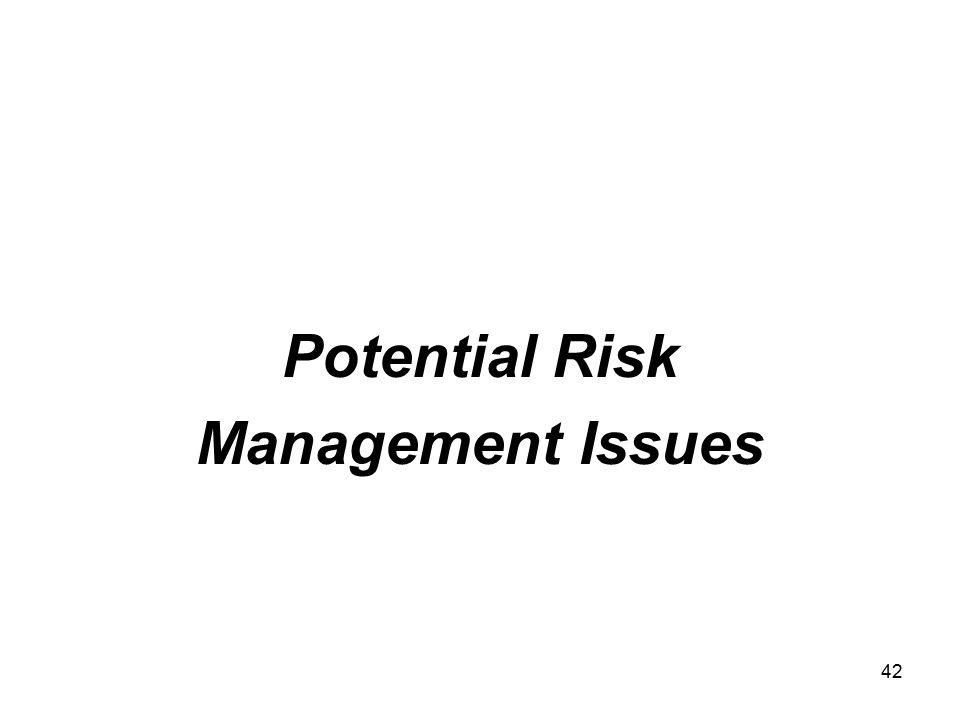 42 Potential Risk Management Issues