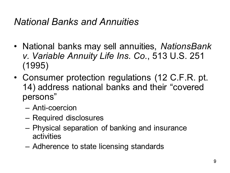 30 Basic Income Taxation of Annuity Products Build-up of cash value generally is not currently taxed Transfer of funds from one investment subaccount to another generally is not subject to current tax Withdrawals (other than annuity payments) and loans are treated first as taxable distributions of ordinary income Portion of each annuity payment received generally is treated as nontaxable return of investment in the contract –Balance of payment is taxable as ordinary income