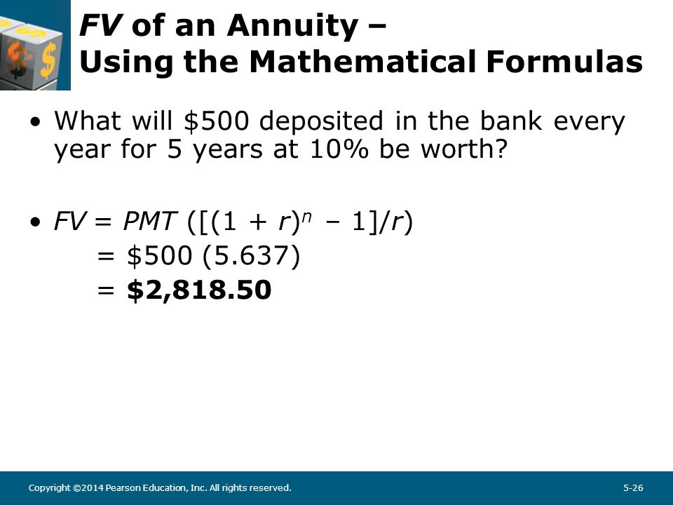 Copyright ©2014 Pearson Education, Inc. All rights reserved.5-26 FV of an Annuity – Using the Mathematical Formulas What will $500 deposited in the ba