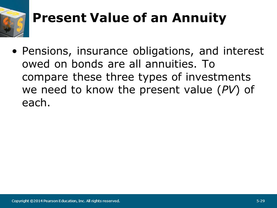 Copyright ©2014 Pearson Education, Inc. All rights reserved.5-29 Present Value of an Annuity Pensions, insurance obligations, and interest owed on bon